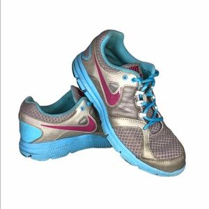 Nike Girls 5Y Blue Pink Gray Shoes LunarForever2